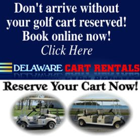 Golf Cart Rental Banner - Advertisement banner with picture of two golf carts.
