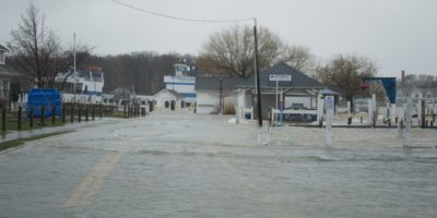 Winds and high water at Put-in-Bay making roads impassable.