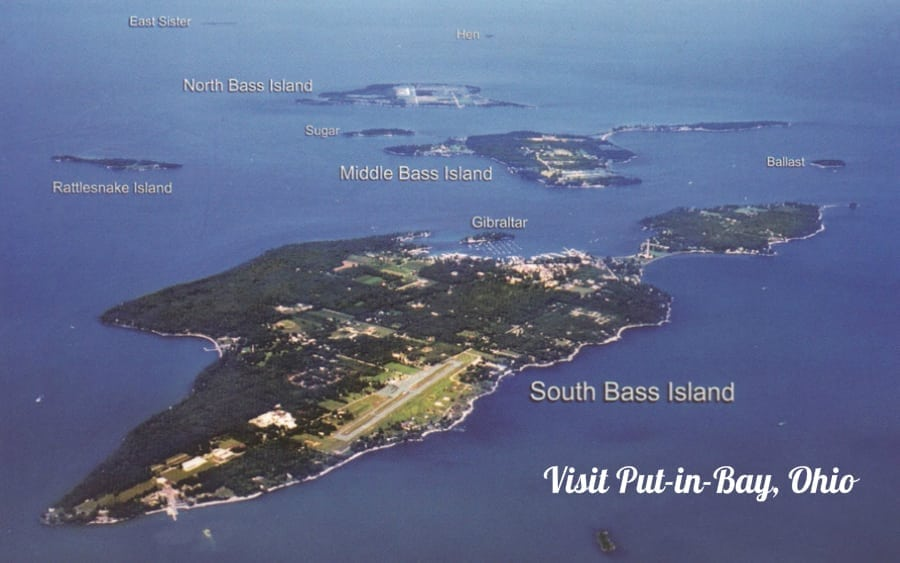 South Bass Island - Aerial photo view of the Lake Eire Islands.